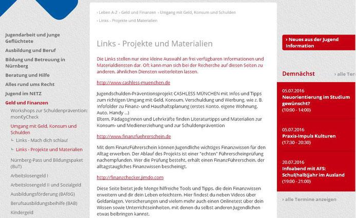 Link auf einer Hinweisseite des Kreisjugendring Nürnbergs für Jugendliche (Screenshot vom 04.07.2016)