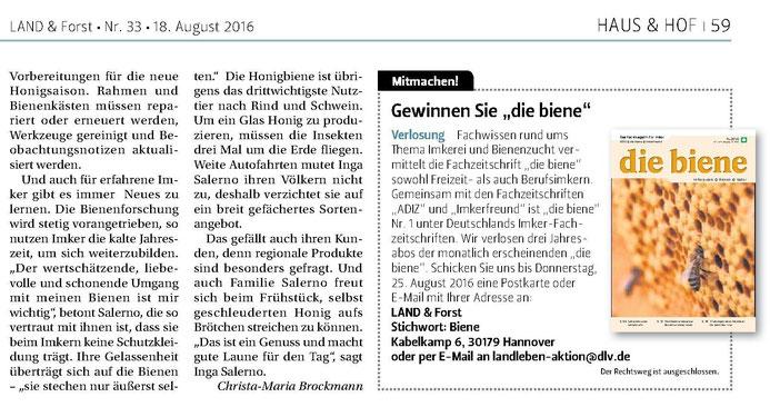 """Inga Salerno, Imkerei himmelsüß in """"Land und Forst"""""""