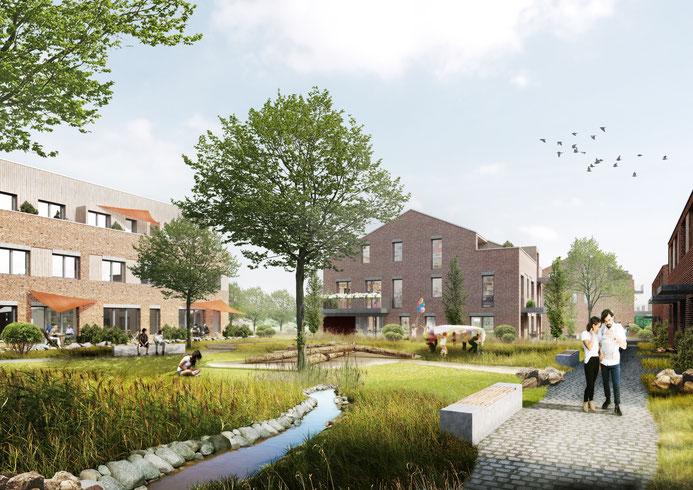 Westlicher Gemeinschshof der Baugemeinschaft, Vorschlag zur Gestaltung des Außenraums