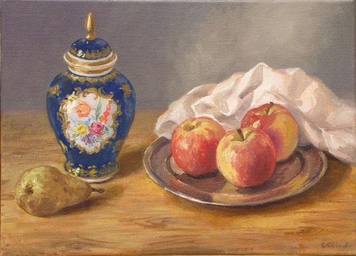 Tony Wahlander (Wåhlander) Tableau d'une nature morte, d'un pot, de pommes et d'une poire