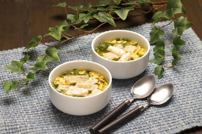 玄米カットもち入りたまごスープ