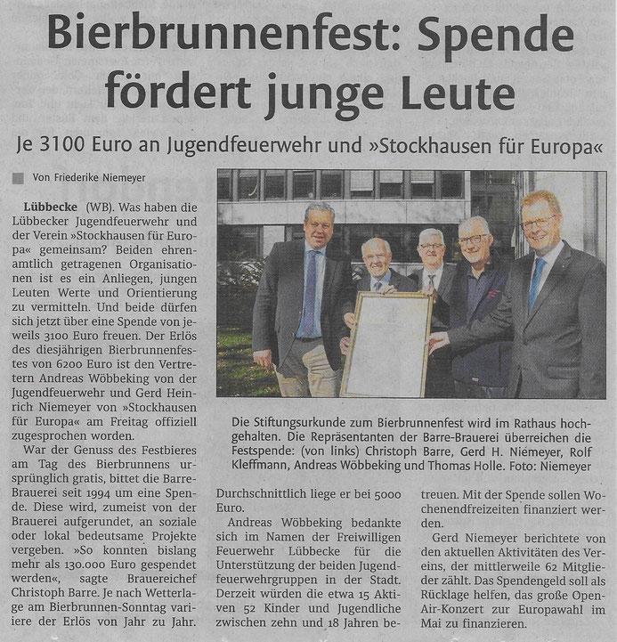 Bericht über die Spende der Firma Barre an unseren Verein im Rahmen des Bierbrunnenfestes 2018 (Lübbecker Kreiszeitung (Westfalen-Blatt), Lokalteil Lübbecke, 06.10.2018)