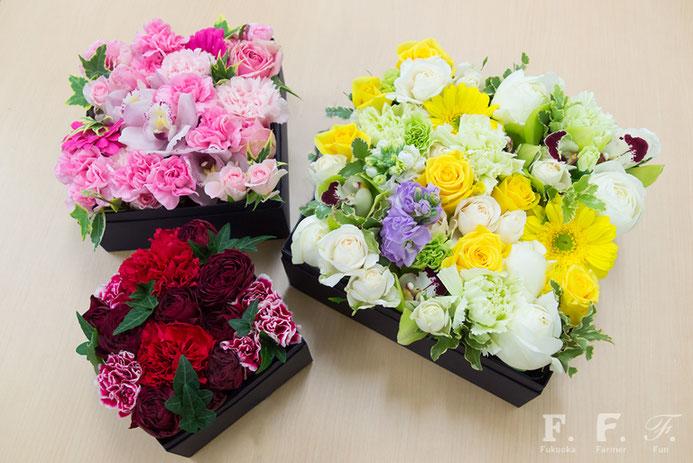 福岡市北崎の花農家さんがつくる箱花(はこばな)