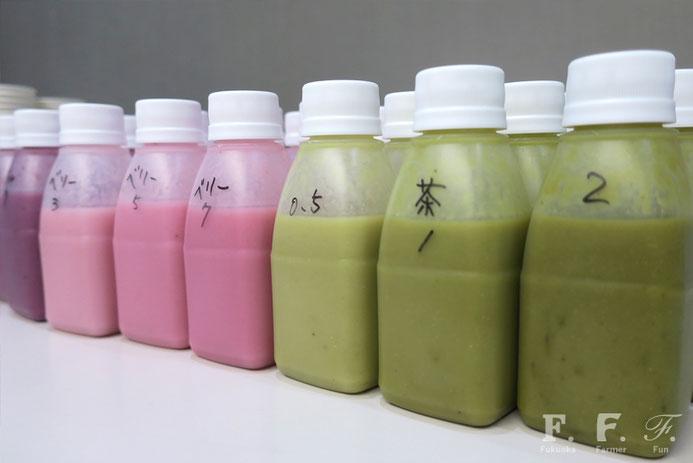 それぞれ濃度が違う甘酒は素材の色が鮮やか