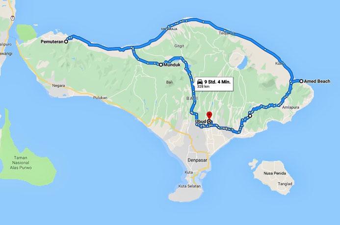 Karte von Bali, Route