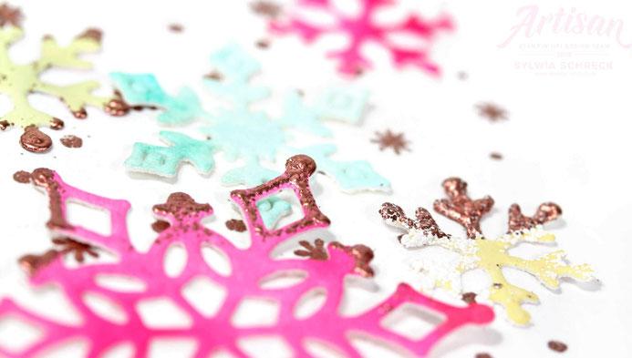 Flockenfantasie Weihnachtskarte mit Stampin Up