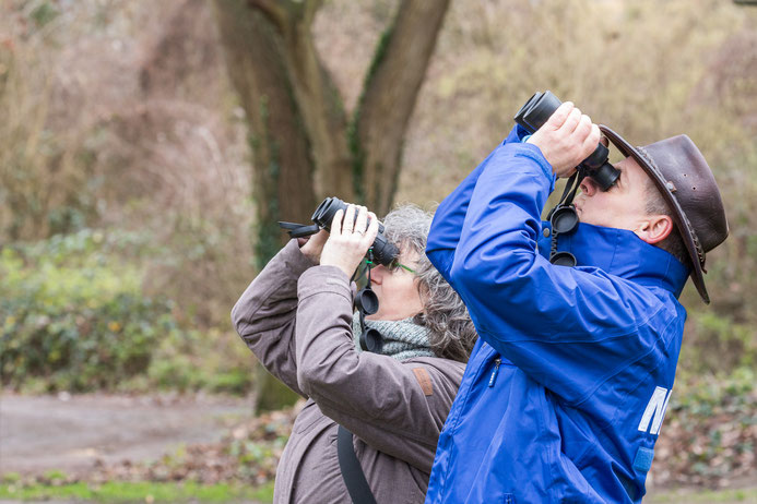 Ja, wo fliegen sie denn? Die NABU-Mitglieder Jens Woitol und Marianne Theis-Prodöhl beim Beobachten des Himmels. (Foto: Andreas Sebald)