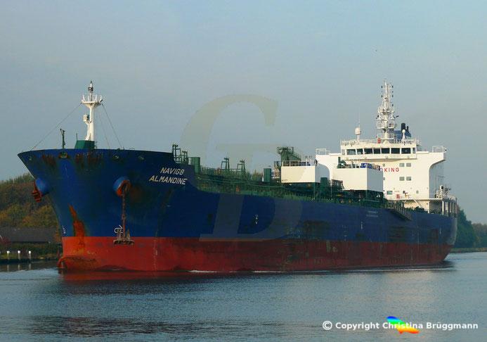 Chemie- /Öltanker NAVIG8 ALMANDINE, Nord-Ostsee Kanal 17.10.2018