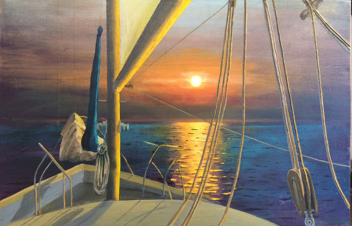 """Evening Sail"" 76cm x 51cm Acrylic on canvas $250 (excluding freight)"