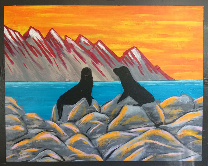 """Kaikoura"" 76cm x 61cm Acrylic on canvas $350 (excluding freight)"