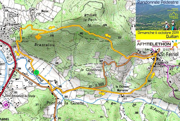 Plan de la randonnée pédèstre de la Ronde VTT des 3 Quilles - Quillan