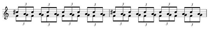 partition musique ostinato accompagnement triolets