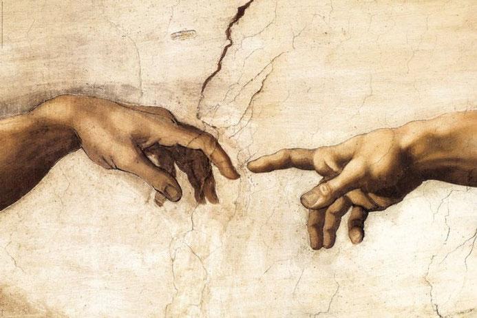 """Michelangelo Buonarroti, """"Creazione di Adamo"""", particolare (1511)"""