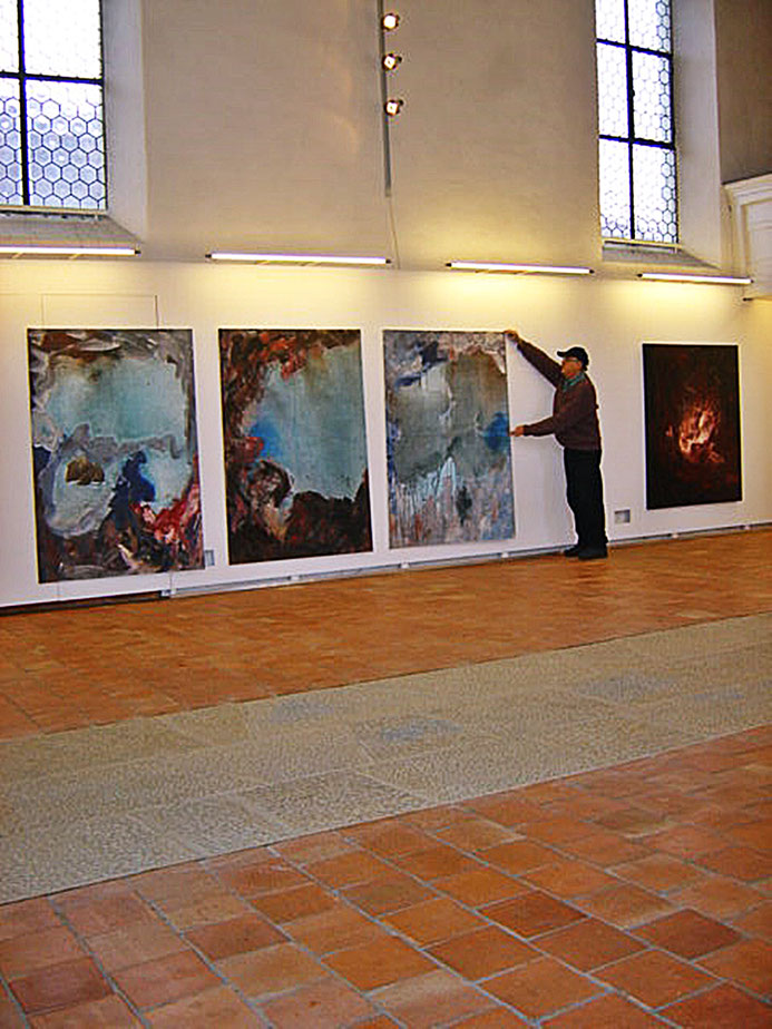 Pedro Meier – Memory of Rügen (Triptychon, Öl/Lack) Neue Horizonte – Solo-Ausstellung Alte Kirche Kunstverein Härkingen Solothurn 2003. © Pedro Meier Multimedia Artist/ProLitteris Zürich. Bangkok Art-Group Visual Art. Atelier Gerhard Meier-Weg, Niederbipp