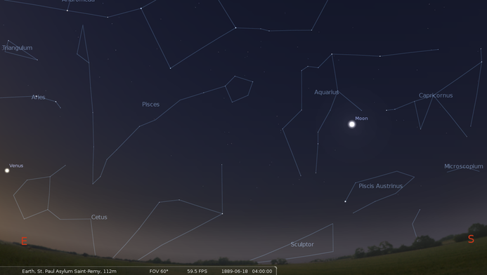 ゴッホが「星月夜」を描いた時期の星。金星が画面左側に存在する。