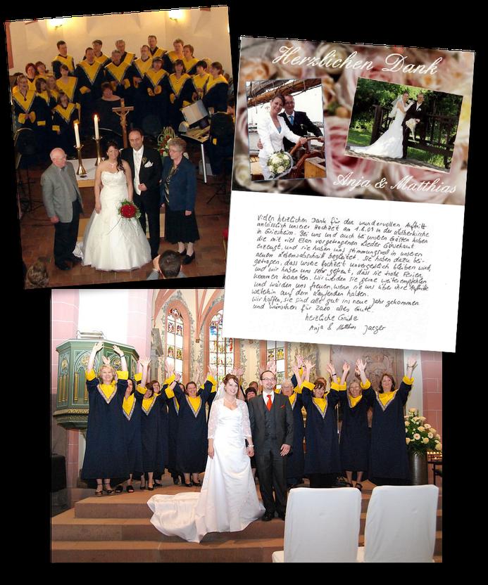 Mehrere Bilder von Hochzeiten mit dem Gospelchor im Hintergrund