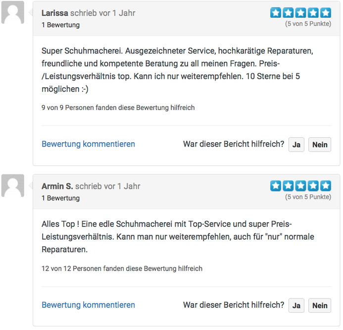 Schuhmacherei Ingrid Neumann Kundenbewertungen