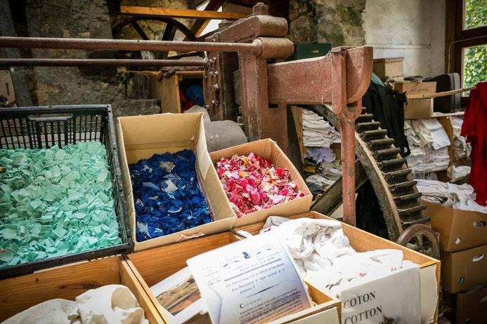 chiffons pour la fabrication du papier du moulin à papier de brousses et villaret dans l'Aude