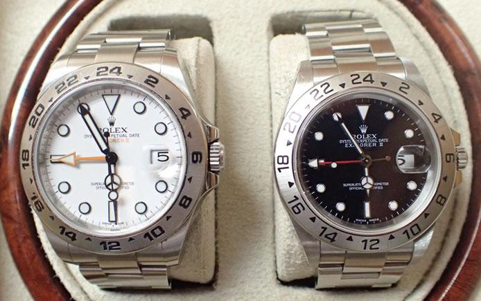 色違いでロレックス エクスプローラーⅡの新旧比較。左が現行型、右が旧型。オレンジの24時間針ほか、デザインに違いが色々見られます
