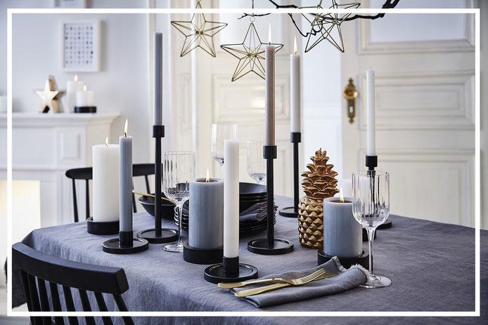 Die FONDO Kerzenteller und Kerzenhalter und die OLE und LENA Kerzenhalter von der traditionsreichen Kerzenmanufaktur Engels.