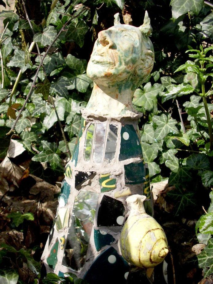 Teufelchen mit Schnecke.  40 cm hoch, 2007