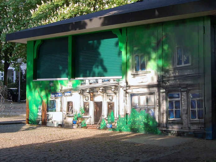 "yorkar street art mural "" RUNDUMBLICK "" Sherry & Port Adolfsallee / Herrngartenstraße Wiesbaden"