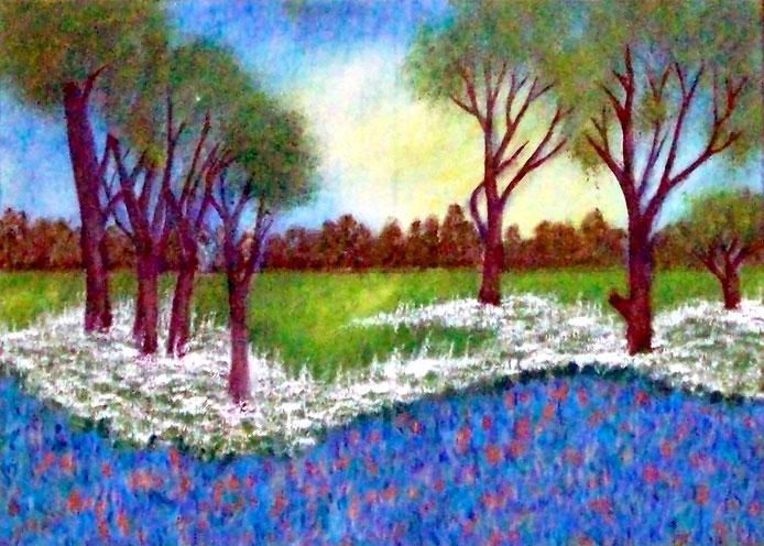 Landschaft mit Blumen, Ölgemälde, Landschaftsbild, Wald, Bäume, Wiese, Blumenwiese, Ölmalerei, Ölbild, Landschaftsmalerei, Sommer, Frühling