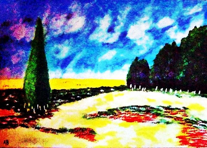 _Landschaft-Toskana-Ölmalerei-Provence-Zypresse-Baum-BäumeFeld-Blumen-Wiese-Himmel-Wolken-Ölbild-Moderne Malerei-Ölgemälde