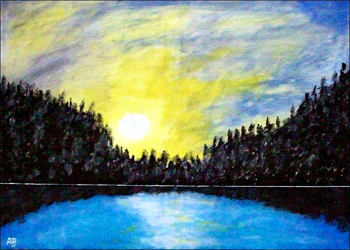 Sonnenuntergang-See-Acrylmalerei-Himmel-Sonne-Wolken-Bäume-Wald-Spiegelung-Acrylbild-Landschaftsmalerei-Acrylgemälde