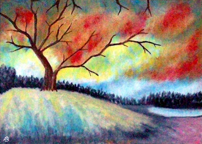 Herbstlandschaft-, Acrylgemälde, Wald, See, Bäume, Hügel, Natur, Herbst, Landschaftsbild, moderne Malerei,Acrylbid, Acrylmalerei