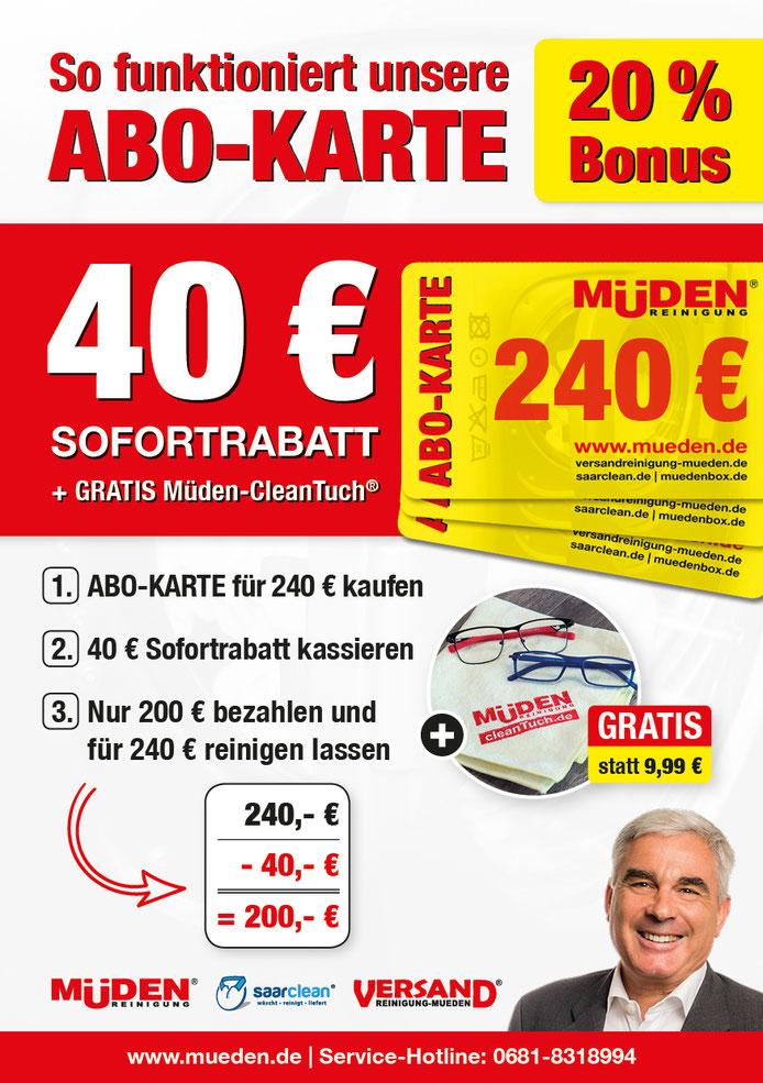 Versandreinigungmueden.de, Abokarte online kaufen, Flyer mit Bonus 40 Euro