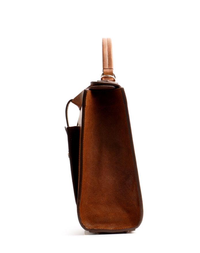 handgefertigte Henkeltasche COLETTE Vintagelook Leder braun OSTWALD Tradition