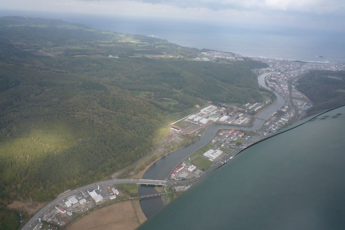 網走川河口付近空撮写真
