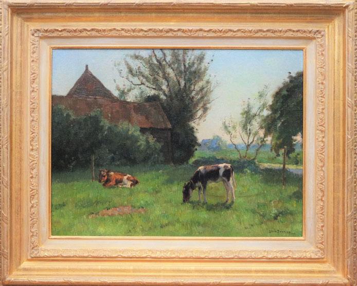 te_koop_aangeboden_een_schilderij_met_kalfjes_van_de_kunstschilder_louis_soonius_1883-1956_haagse_school