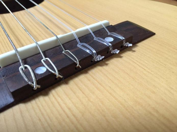 弦の交換(クラシックギターの弦の張り方)1弦、2弦、3弦の別の張り方