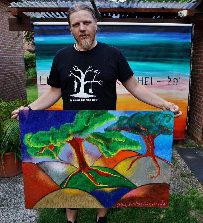 """Frank mit seinem Geburtstagsgeschenk """"Arboles"""" 70x100cm Ölpastell von Sennelier"""