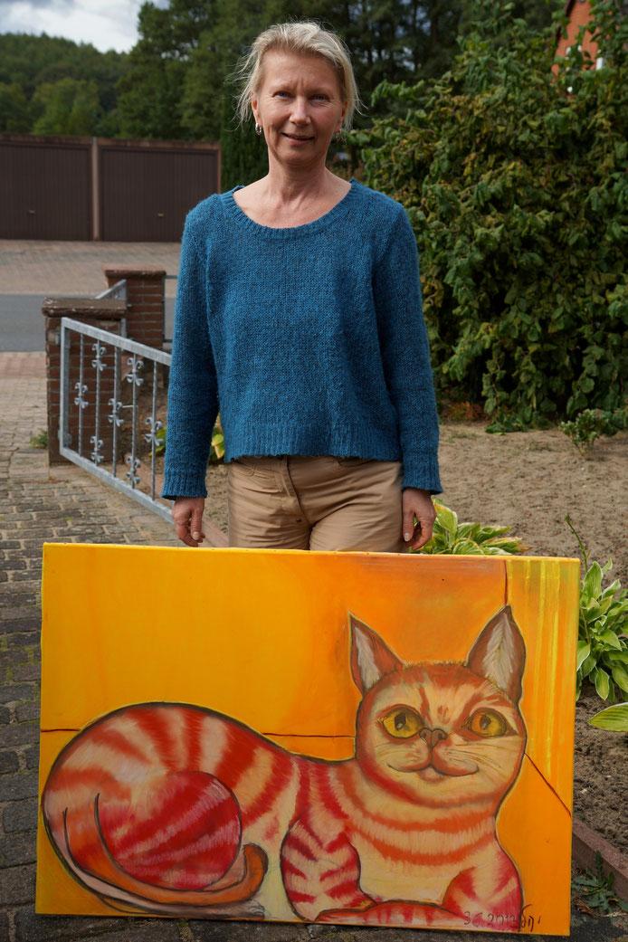 """Uta mit ihrem """"Roten Kater"""" (70x100cm) Pastellkreide auf Keilrahmen"""