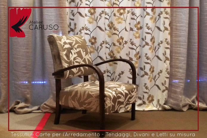 Tendaggio moderno in lino e ricami in seta