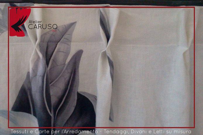 arricciatura tendaggi in lino stampati