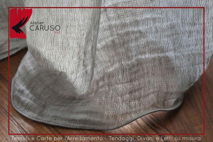 Tende in lino tortora plissettato