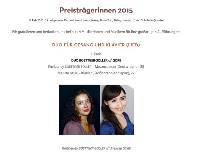 Kimberley Boettger-Soller, Mezzosopran Melissa Gore, Klavier