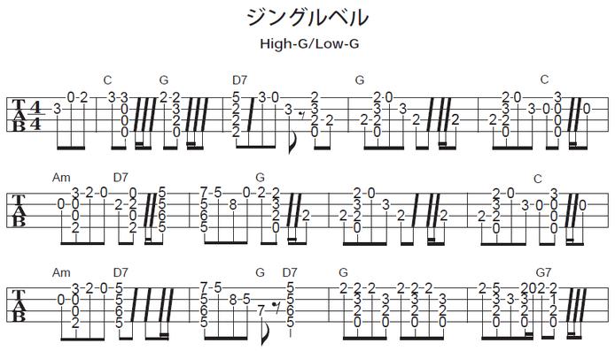 ソロウクレレで弾くクリスマスソング ジングルベルの楽譜・タブ譜(1/2)