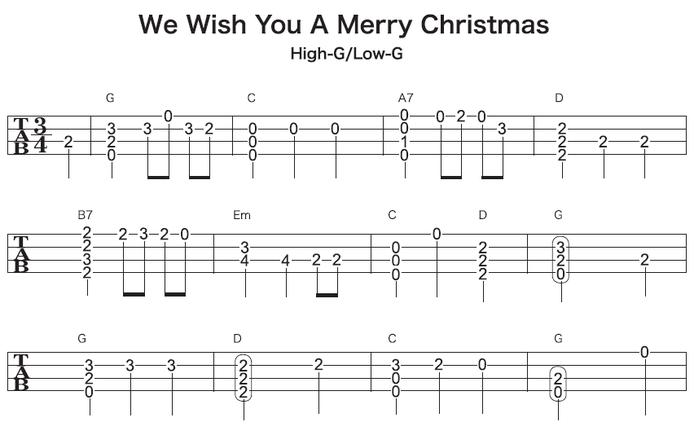 ソロウクレレで弾くクリスマスソング We Wish You a Merry Christmasの楽譜・タブ譜(1/2)