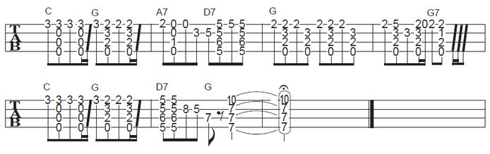 ソロウクレレで弾くクリスマスソング ジングルベルの楽譜・タブ譜(2/2)