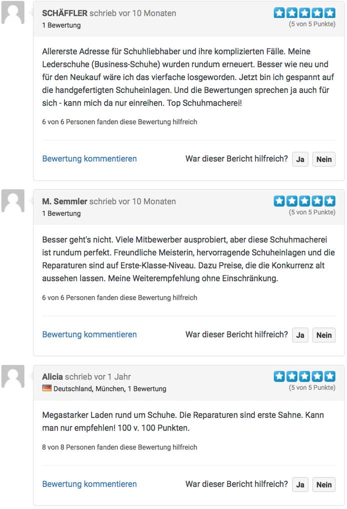 Schuhmacherei Ingrid B.  Neumann Kunden Rezensionen