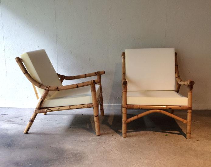 fauteuil rotin vintage, chauffeuse rotin