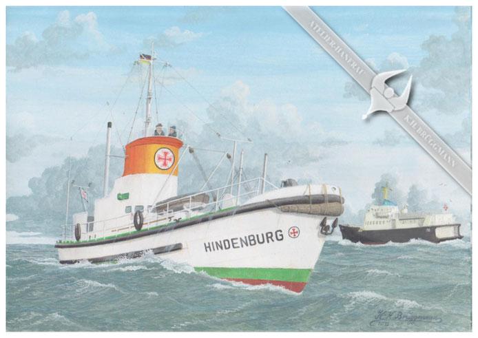 "DGzRS ""Hindenburg"" vor List / Sylt, 1960,Aquarell."