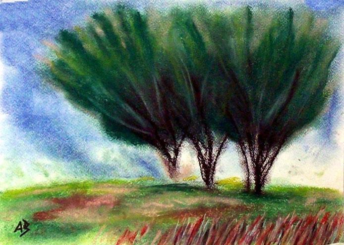 Three Trees, Pastellbild, Bäume, Wiese, Gras, Weg, Landschaftsbild, moderne Malerei, Pastellgemälde, Pastellmalerei, Landschaft