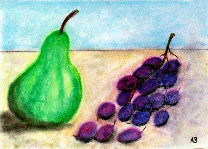 Stillleben mit Birne und Trauben, Pastellgemälde, Still Life, Birne, Weintrauben, moderne Malerei, Früchte, Pastellmalerei, Pastellbild