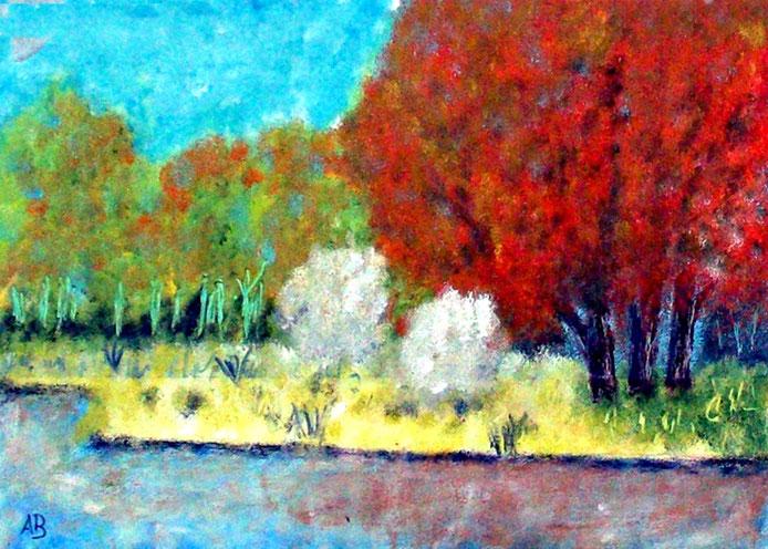 Flusslandschaft, Ölgemälde, Wald, Bäume, Wiese, Gras, Büsche, Fluss, Herbst, Landschaftsbild, Natur, Ölmalerei, Ölbild